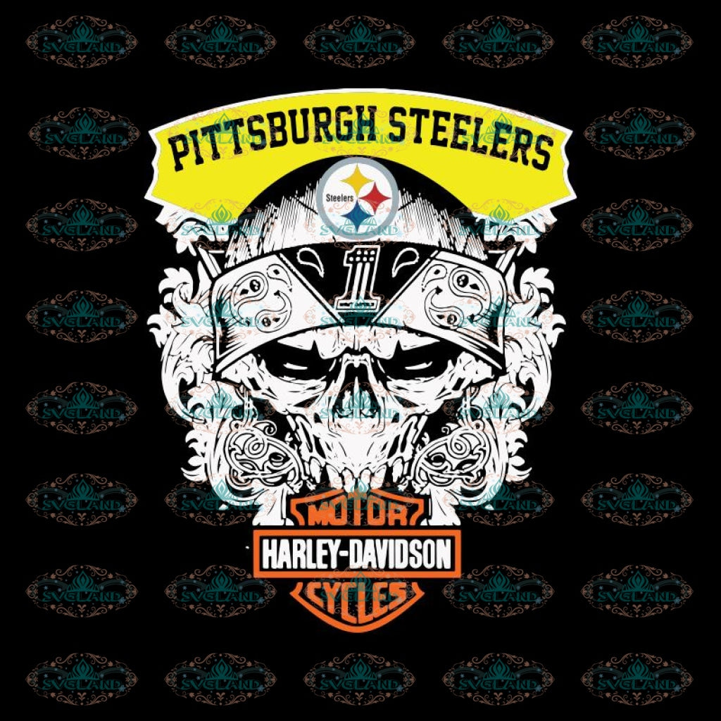 Top Motor Harley Davidson Cycles Pittsburgh Steelers PNG, Steelers PNG, NFL PNG, Printable PNG 300 DPI, Football PNG, Sport PNG, Skull PNG