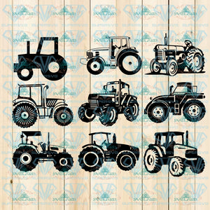 Tractor Svg Bundle Clipart Cut Files For Silhouette For Cricut Farm Vector Svg Dxf Png Eps Digital