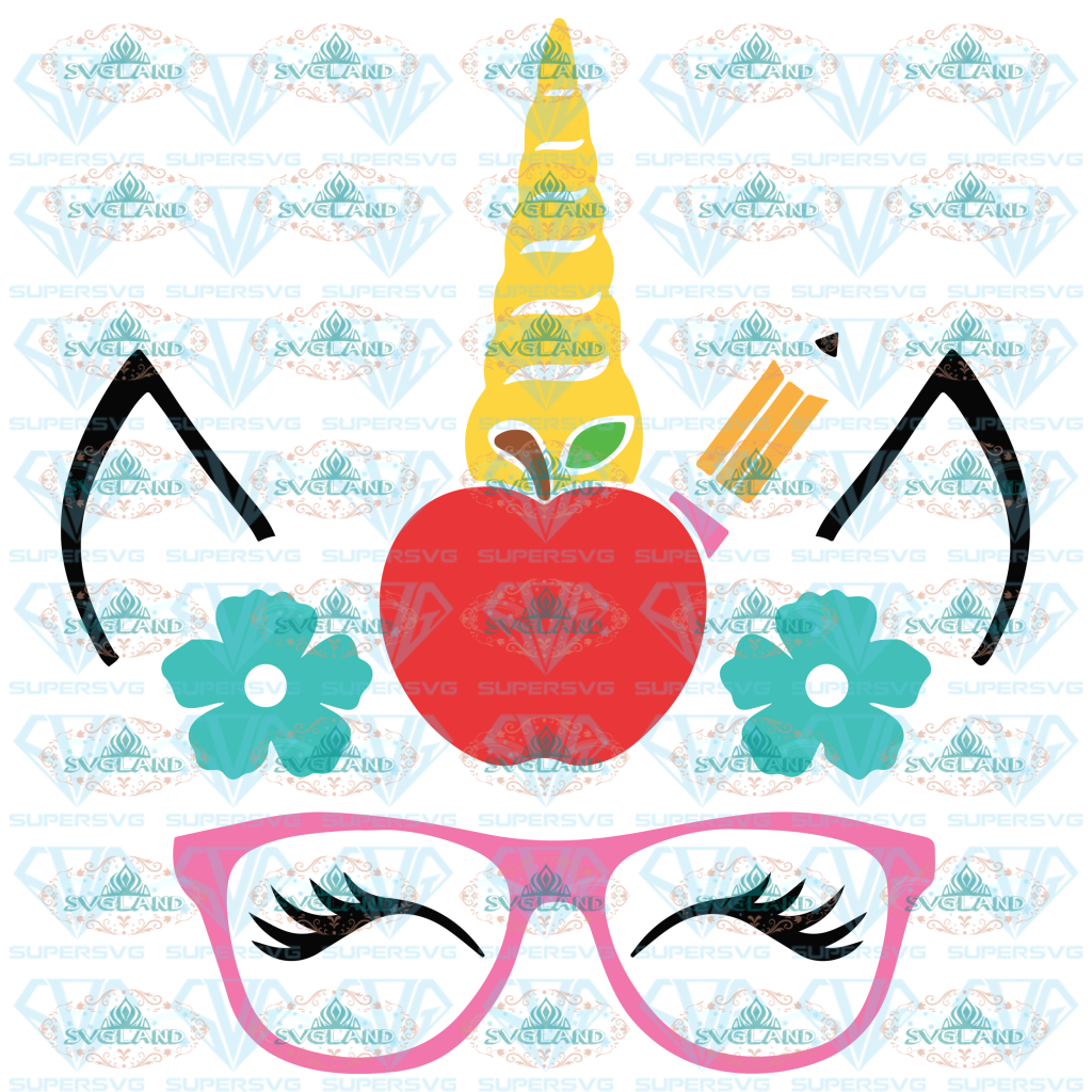 Unicorn School Svg Back To School Unicorn Svg Apple Apple Girl Shirt Teacher Digital