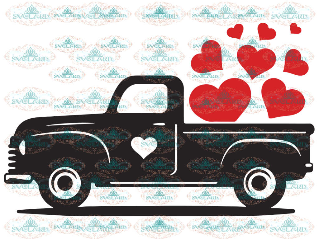 Valentine Truck Svg Valentines Day Red With Heart Digital