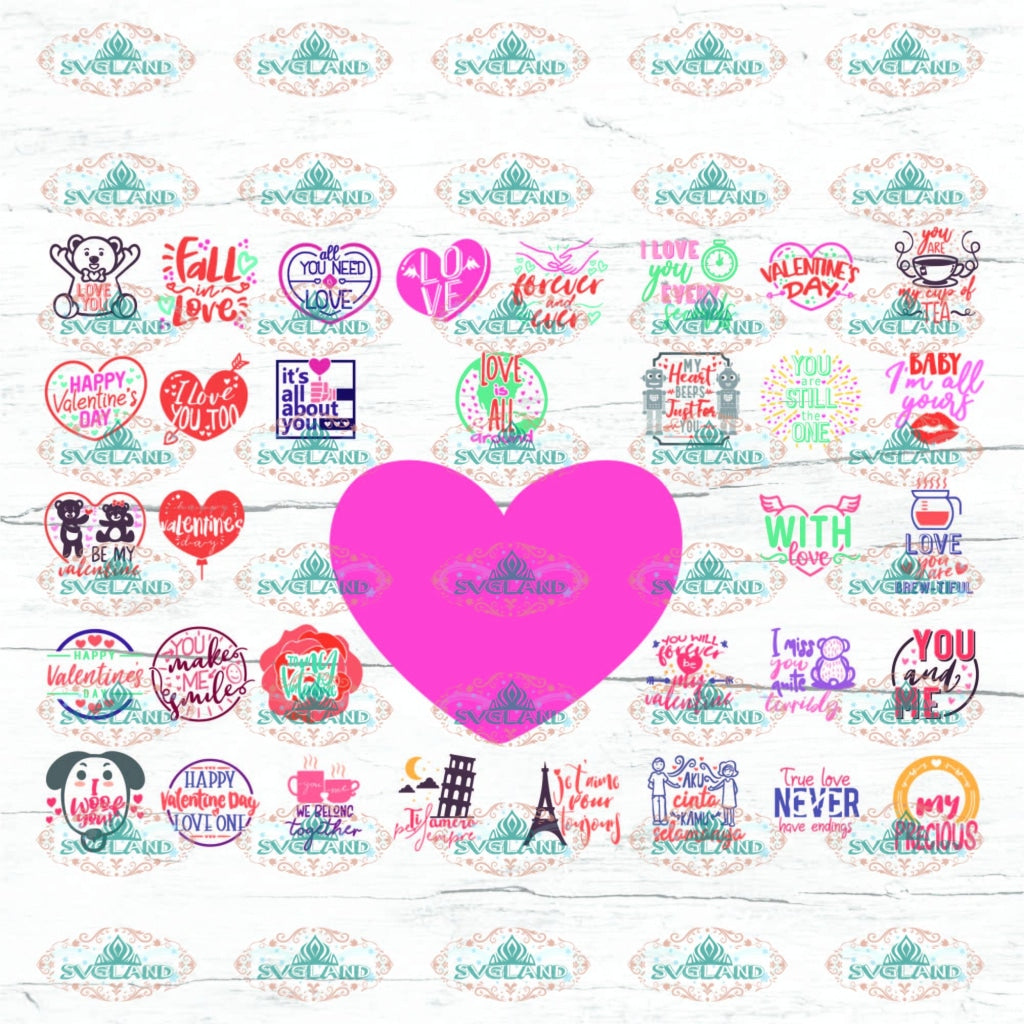 Valentines Bundle Svg Valentines Day Truck Heart Be Mine Silhouette Clipart Cricut Cut Files Digital