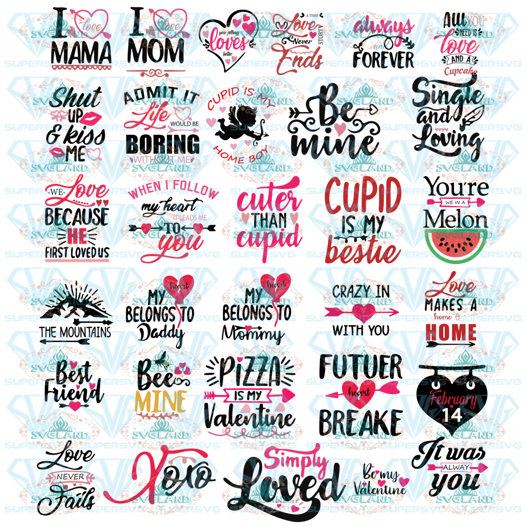 Valentines Day Svg Bundle Files Valentines Svg Gift For Love Funny Quotes Digital