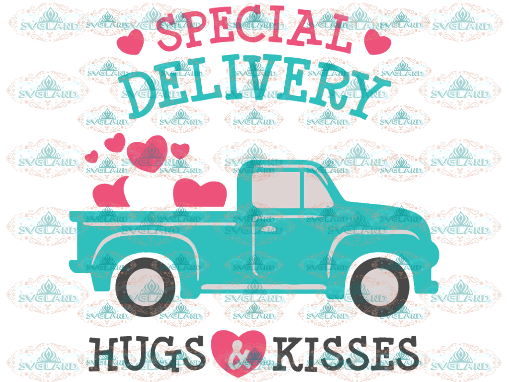 Valentines Old Truck Svg Valentine Dxf Eps Day Hugs & Kisses Hearts Love Digital