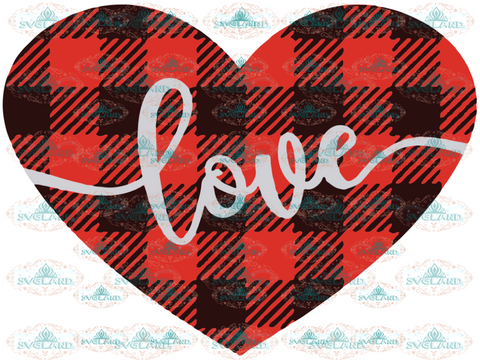 Valentines Svg Love Day Heart Buffalo Plaid Silhouette Cricut Cut File Digital Download
