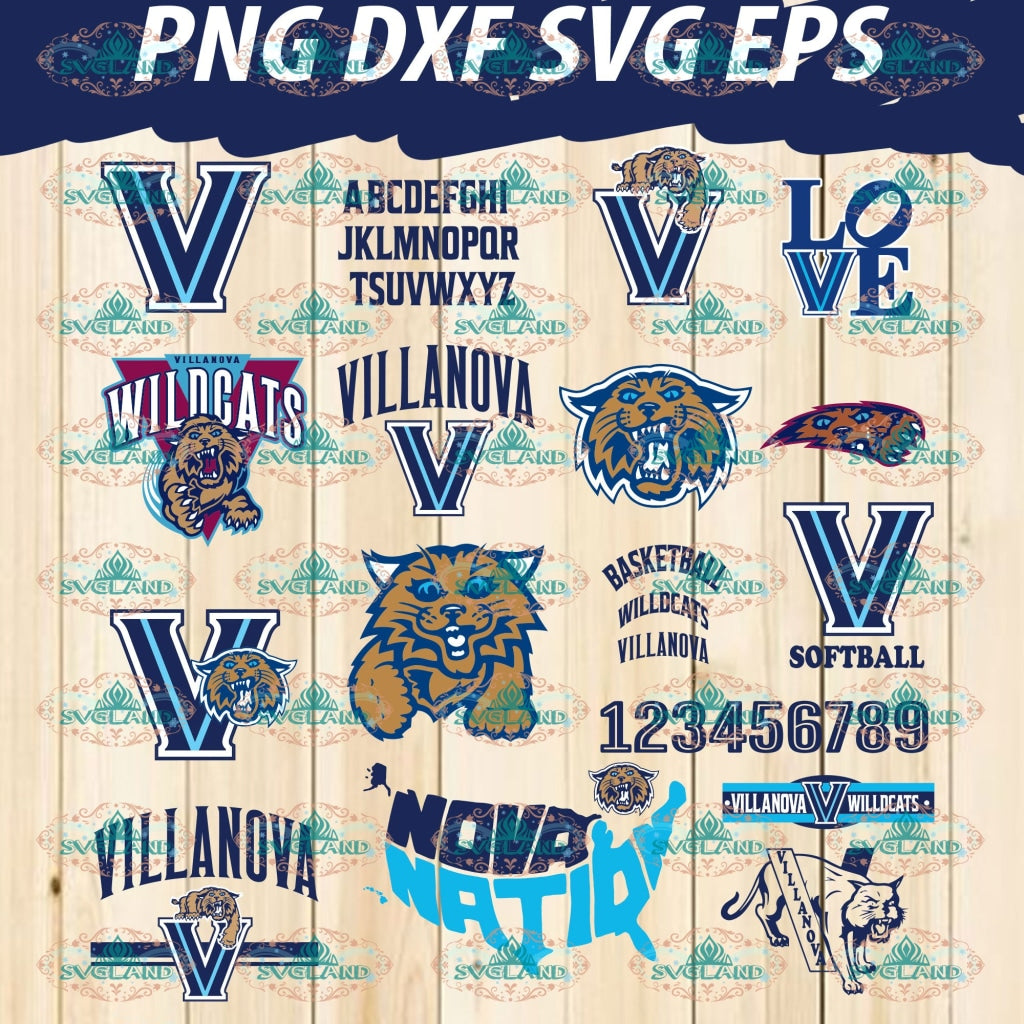 Villanova University Wildcats Svg Villanova Logo Bundle College University Shirts Silhouette Designs
