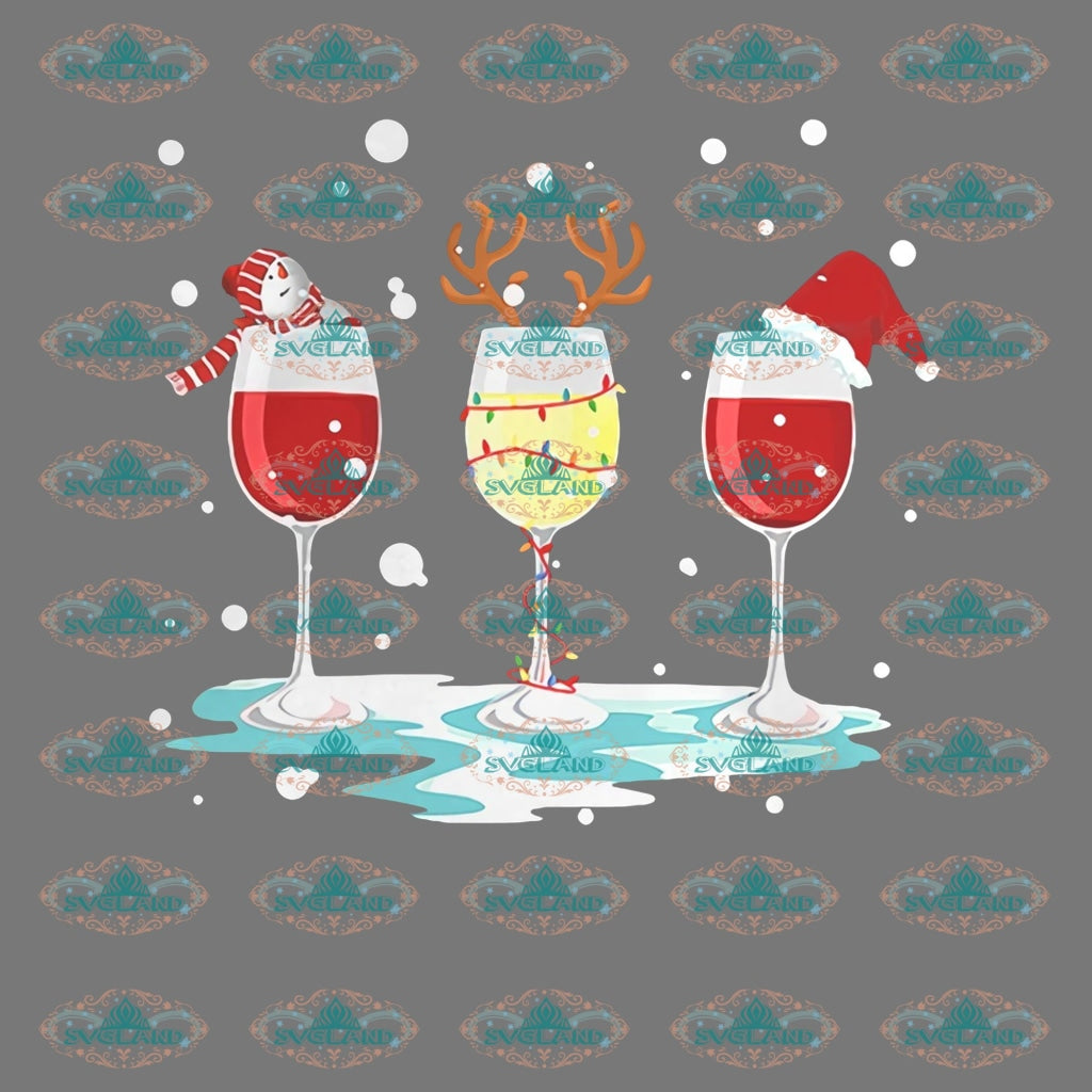 Wine Glasses Christmas Wine Merry Gift Outfit Ornament Png Digital