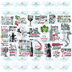 Wine Svg Bundle Funny Quotes Svg Designs Sayings Wine Glass Drink Alcohol Files Mom Life Digital