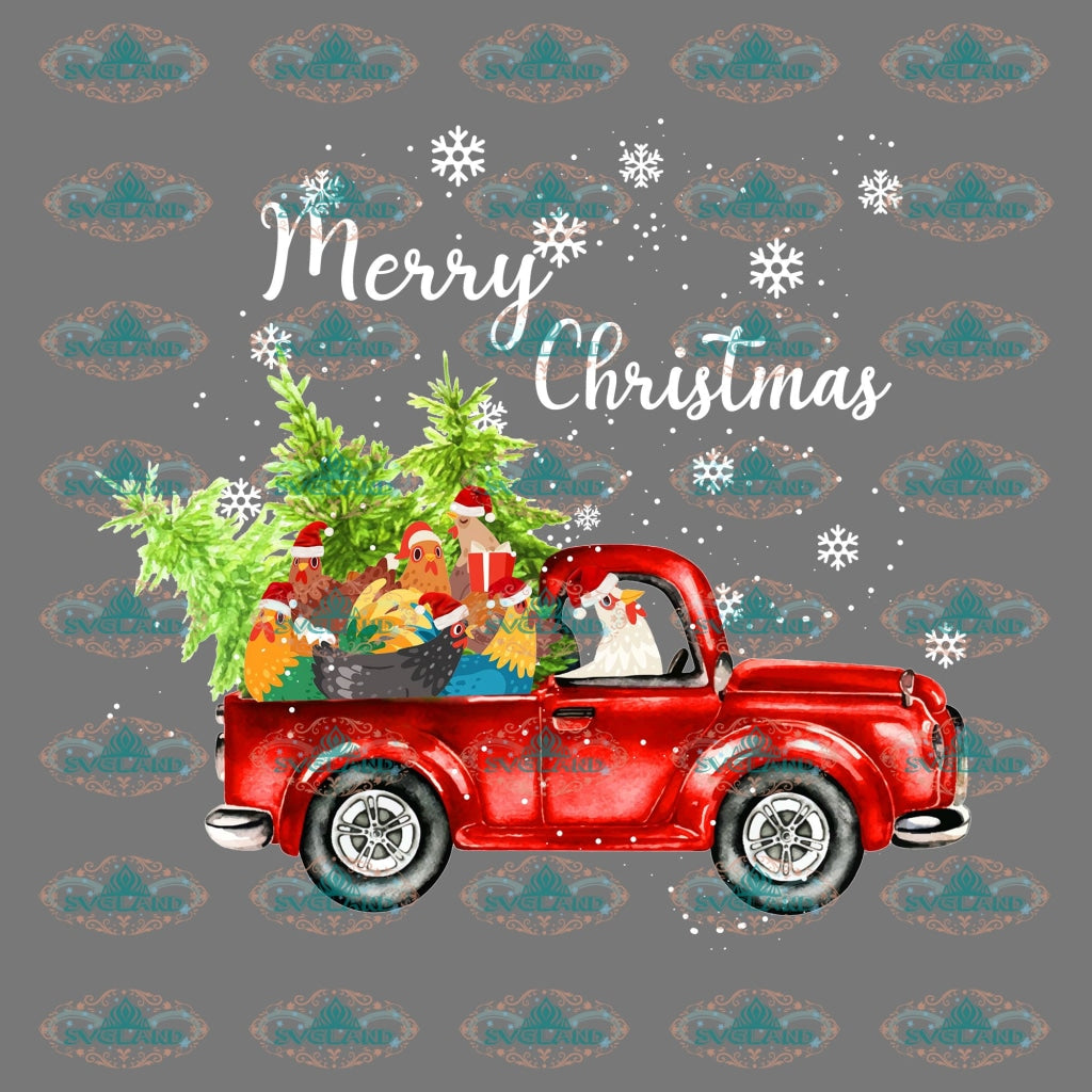 Winter Christmas Decor Chicken Driving Car Merry Gift Outfit Ornament Png Digital