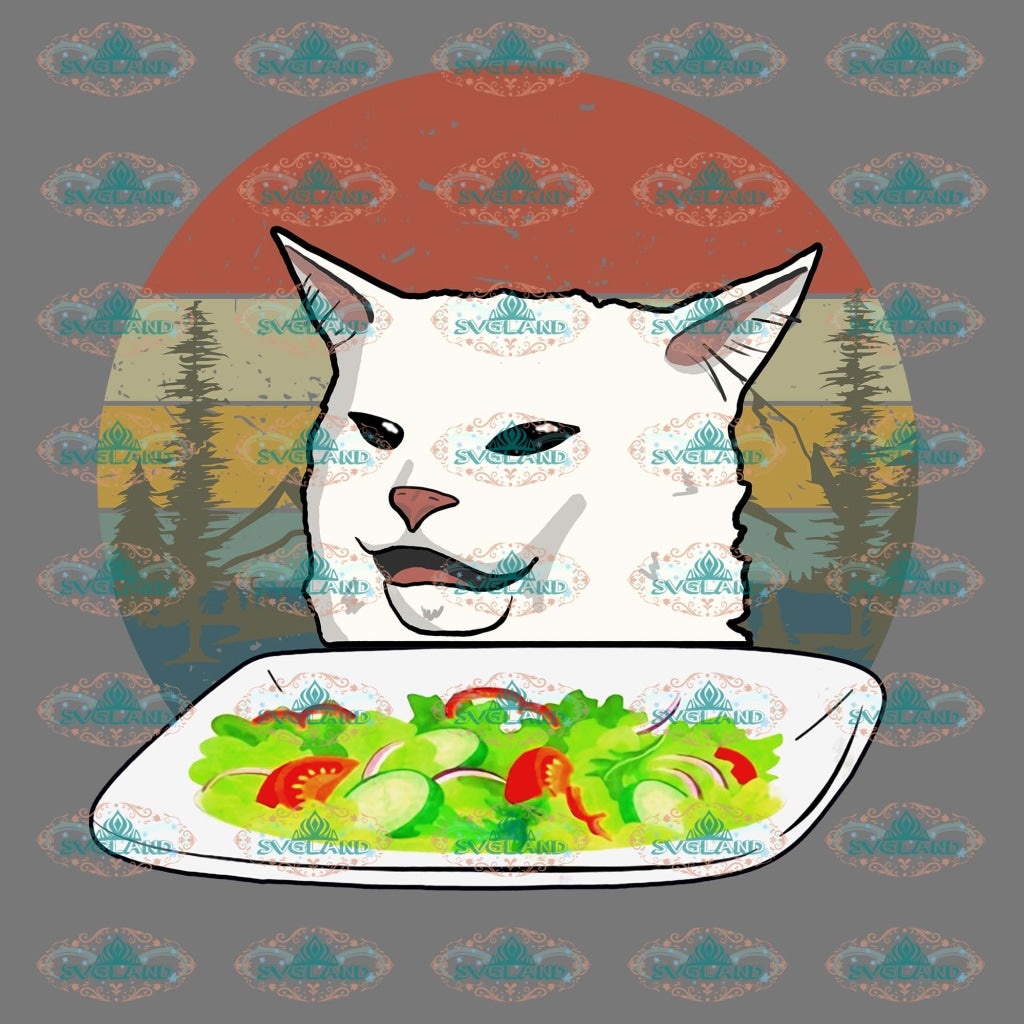 Woman Yelling At Table Dinner Cat Meme Vintage Shirt Png Digital
