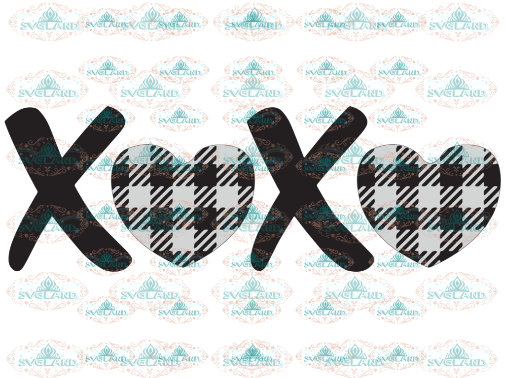 Xoxo Svg Hugs And Kisses Valentines Day Love Buffalo Plaid Clipart Valentine Digital