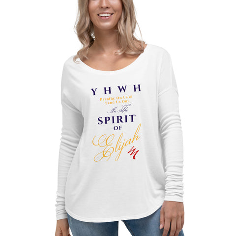 """YHWH Breathe On Us"" Women's Long Sleeve Tee - Elijah's Mantle Messianic Judaic Christian T-Shirts, Hoodies, Hats - Apparel"