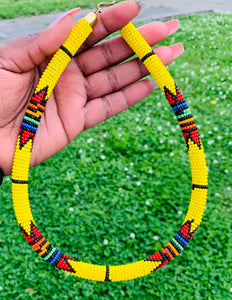 African Zulu Zig Zag Beaded Necklace(ONLY) $25.00