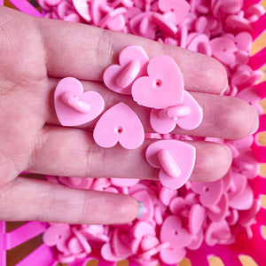 Pink Heart Shape Rubber Pin Backs 4pc. Pack | Cute and large heart shaped rubber clutches for enamel pins