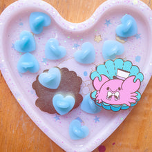 Load image into Gallery viewer, Light Blue Heart Shape Rubber Pin Backs 4pc. Pack | Cute and large heart shaped rubber clutches for enamel pins