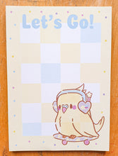 Load image into Gallery viewer, Let's Go! Sk8r Birb 4x6 Memo Pad | Kawaii Retro Themed Parakeet Skateboarding Memo Pad