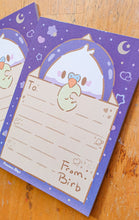 Load image into Gallery viewer, Astro Birb Letter 4x6 Memo Pad | Kawaii Retro Diner Themed Parakeet Memo Pad