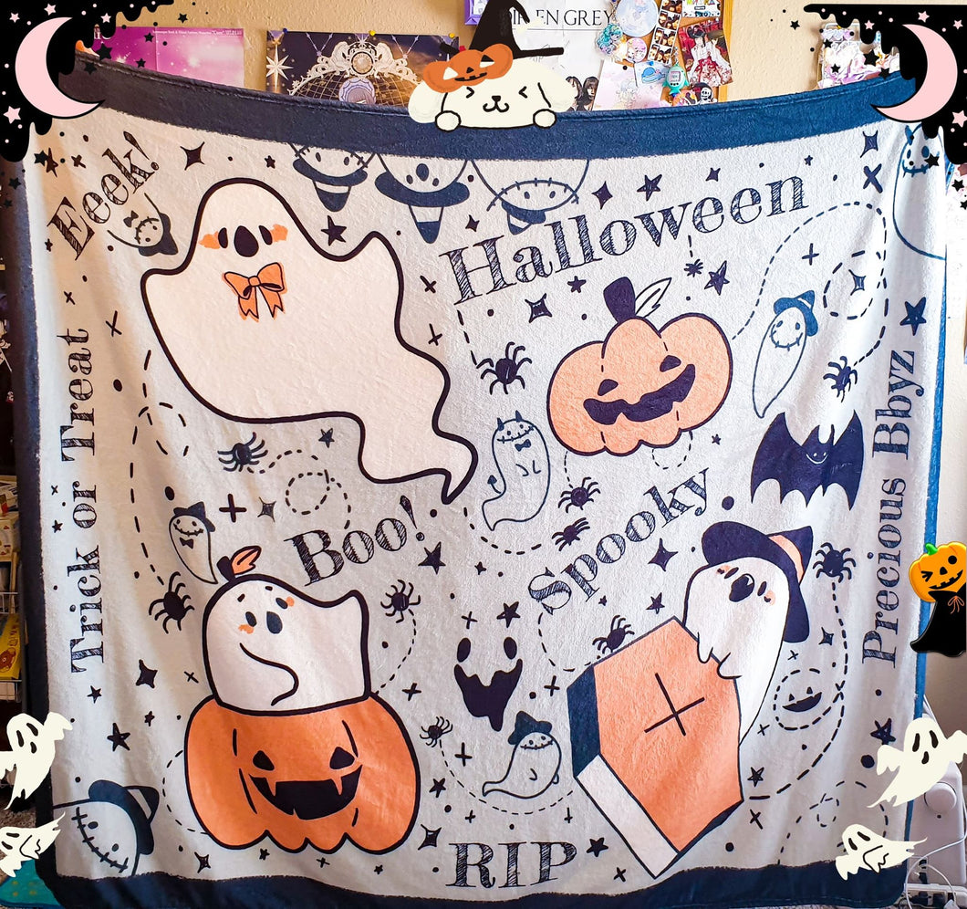 Cozy Ghosts Fluffy Halloween Throw Blanket | Soft and Plush Autumn Halloween Couch Blanket by Precious Bbyz