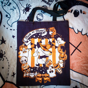 Tricks and Treats Spoopy Canvas Tote | Halloween Zipper Tote Bag by Precious Bbyz