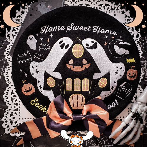Home Sweet Home Haunted House Beret | Spoopy Halloween Wool Beret by Precious Bbyz