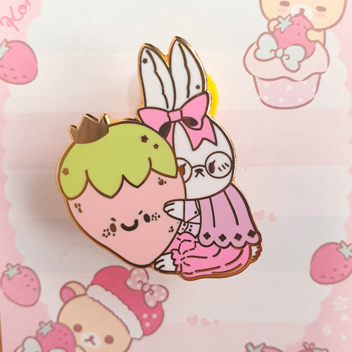Jam Flavor Strawbunny Hard Enamel Pin (Pink) | White Rabbit Inspired Gold Hard Enamel Pin