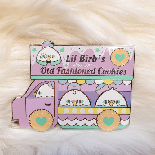 Birb's Cookie Delivery (Pink) | Large Hard Enamel Pin by Precious Bbyz