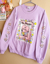 Load image into Gallery viewer, PRE ORDER! Lavender No Thanks :\ Pastel Pullover Sweater | Unisex Kawaii Conversation Hearts Pullover Sweater by Precious Bbyz