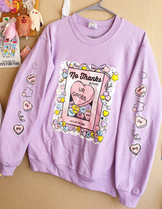 PRE ORDER! Lavender No Thanks :\ Pastel Pullover Sweater | Unisex Kawaii Conversation Hearts Pullover Sweater by Precious Bbyz