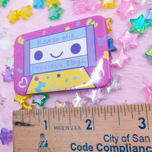 Kawaii Mix ・Dark Pink Rectangular Pinback Button | Fairy Kei 80s Inspired Colorful Button by Precious Bbyz