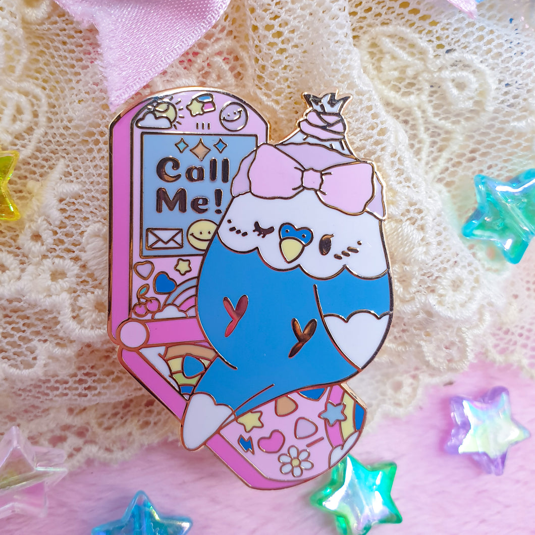 Y2Kall Me! Blue Budgie Pin | Colorful Blue and White Budgie 90s Inspired Hard Enamel Pin