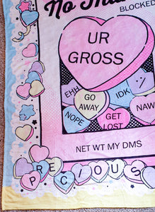 No Thanks :\ Fluffy Conversation Hearts Throw Blanket | Soft and Plush Valentine's Day Couch Throw Blanket by Precious Bbyz