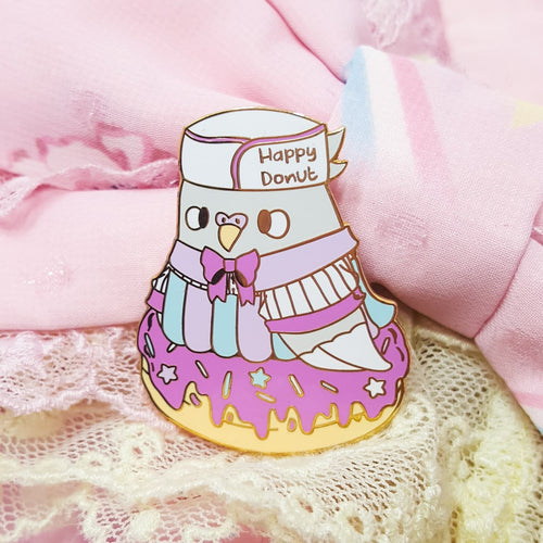 Baker Birb Pigeon A- Grade Hard Enamel Pin | Retro Diner Inspired Pink Donut Pastel Pigeon by Precious Bbyz