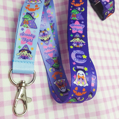 Spooky Night Creepy Cute Lanyard | Kawaii Halloween Ghost Jackolantern Lanyard for Work or School