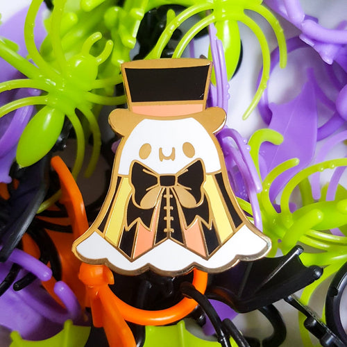 Black and Orange Dapper Ghost Hard Enamel Pin | Halloween Pinstripe Fancy Ghost Enamel Pin by Precious Bbyz