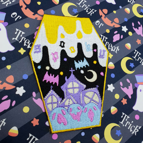 Spooky Coffin DIY Iron On Patch | Halloween Pastel Goth Creepy Cute Harajuku Fashion Patch by Precious Bbyz