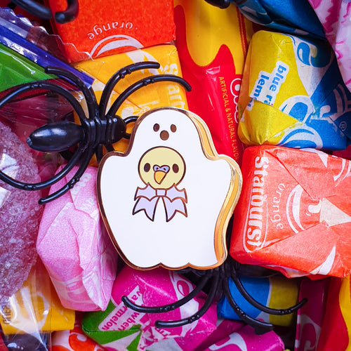 Ghostmallow Birb Hard Enamel Pin | Spooky Cute Pastel Halloween Enamel Pin by Precious Bbyz
