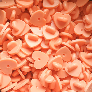 Orange Heart Shape Rubber Pin Backs 4pc. Pack | Cute and large heart shaped rubber clutches for enamel pins