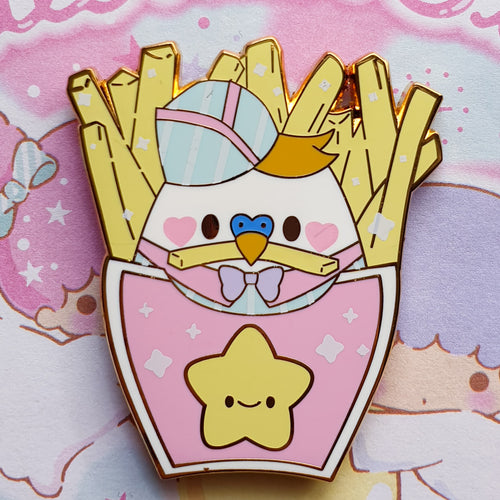 SECONDS SALE! Smol Fry Birb Fries |  Pastel Fairy Kei Yume Kawaii Retro 80's Hard Enamel Pin by Precious Bbyz