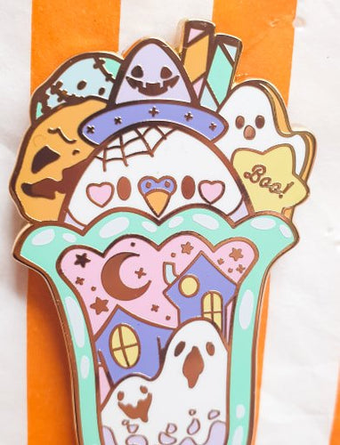 SECONDS SALE! Birb's Tricky Parfait Hard Enamel Pin | Spooky Cute Pastel Halloween Enamel Pin by Precious Bbyz