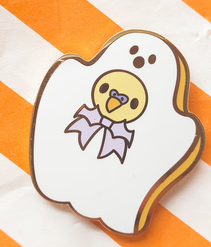 SECONDS SALE! Ghostmallow Birb Hard Enamel Pin | Spooky Cute Pastel Halloween Enamel Pin by Precious Bbyz