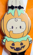 Load image into Gallery viewer, SECONDS SALE! Pumpkin Bunny Prince Hard Enamel Pin | Spooky Cute Pastel Halloween Enamel Pin by Precious Bbyz