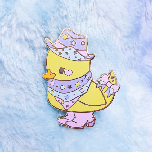 Seconds Sale!! Yeehaw Ducky Hard Enamel Pin | Pastel Fairy Kei Yume Kawaii Decora Inspired Enamel Pin by Precious Bbyz