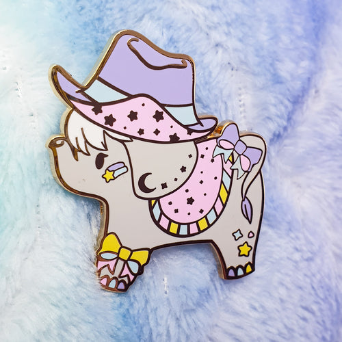 Seconds Sale!!Cowpoke Elephant Hard Enamel Pin | Pastel Fairy Kei Yume Kawaii Decora Inspired Enamel Pin by Precious Bbyz