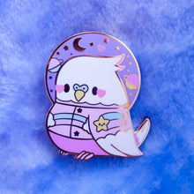 Load image into Gallery viewer, !Seconds Sale! Astro Birb Kawaii Enamel Pin | Pastel Space Inspired Budgie Parakeet Enamel Pin