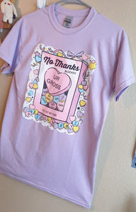 Lavender No Thanks :\ Pastel Tshirt | Unisex Kawaii Conversation Hearts T Shirt by Precious Bbyz