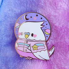 Load image into Gallery viewer, Astro Birb Kawaii Enamel Pin | Pastel Space Inspired Budgie Parakeet Enamel Pin