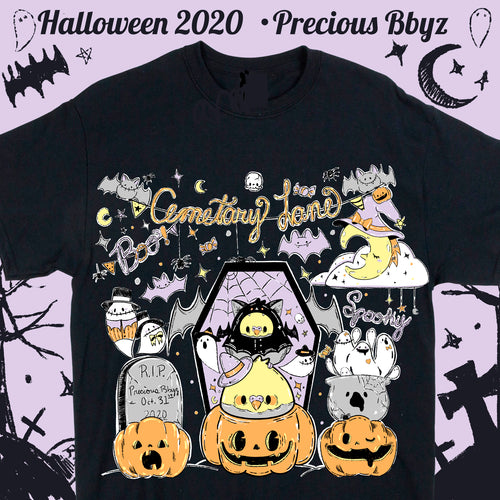 Cemetary Lane Spooky Cute T-shirt | Unisex Spoopy Halloween Black T-shirt by Precious Bbyz