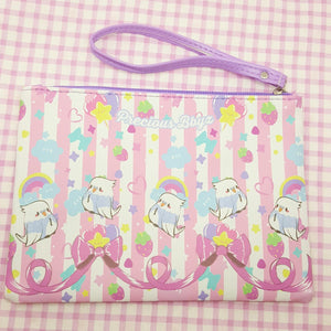 Kawaii *2-Style* Birb Faux Leather Pencil Bag | Fairy Kei Astro Birb Cosmetic Pouch by Precious Bbyz