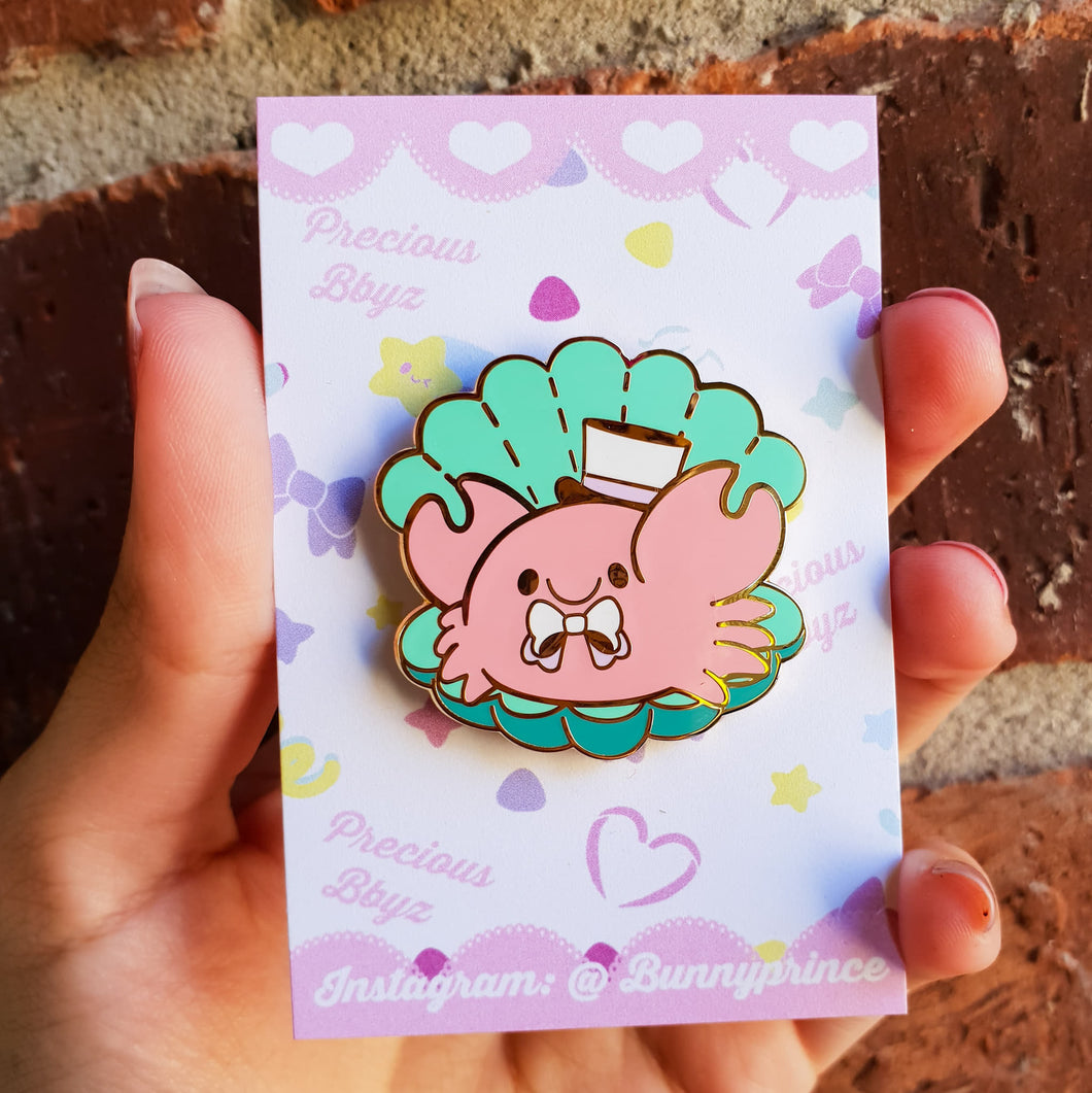Dapper Kreb Hard Enamel Pin | Kawaii Pastel Little Mermaid inspired chubby crab enamel pin by Precious Bbyz