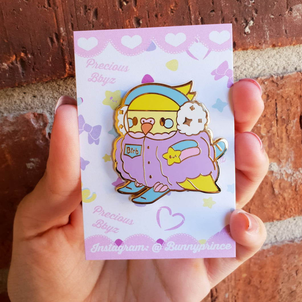 Xtreme Sports Birb Hard Enamel Pin | Kawaii Pastel X Games Winter inspired chubby budgie enamel pin by Precious Bbyz