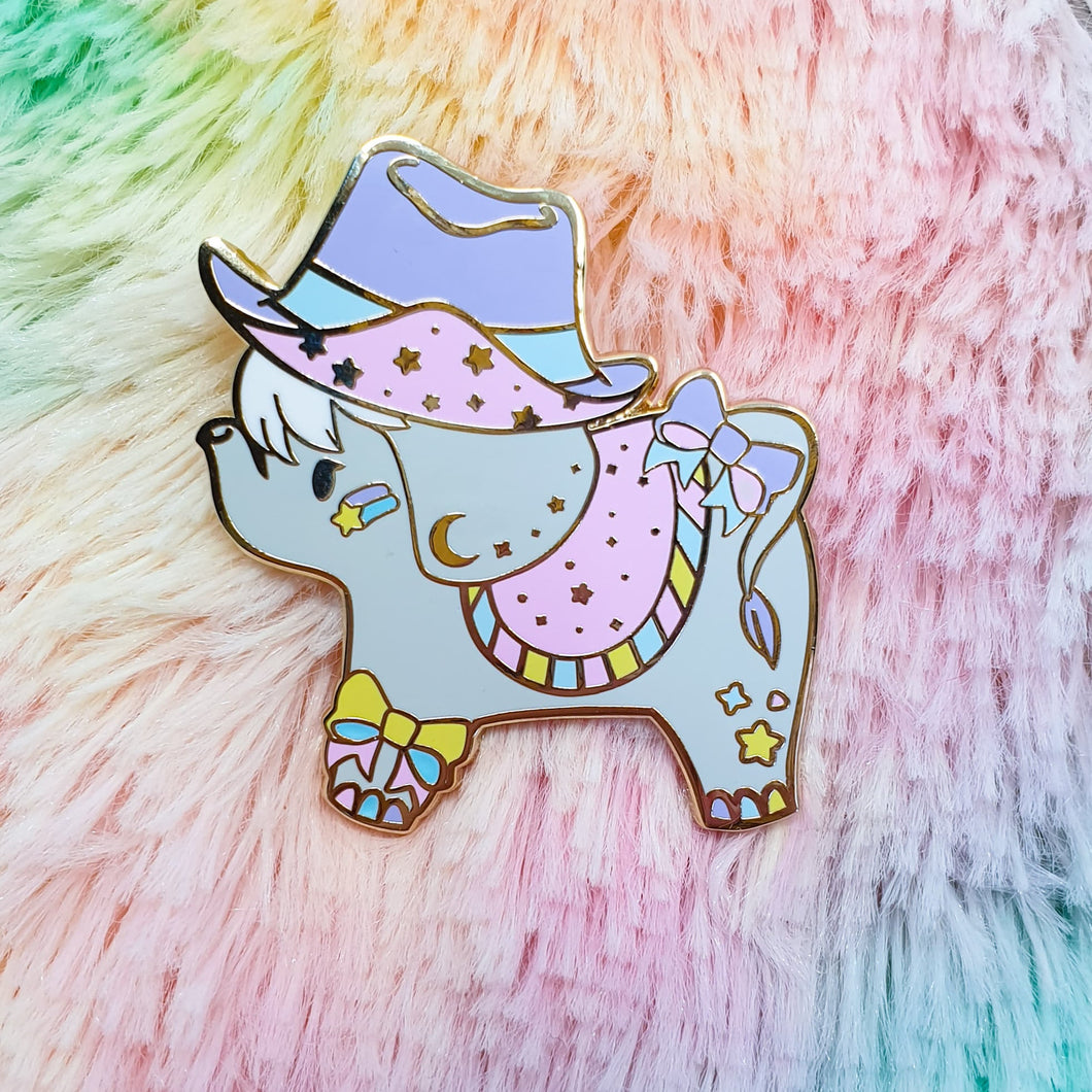 Cowpoke Elephant Hard Enamel Pin | Pastel Fairy Kei Yume Kawaii Decora Inspired Enamel Pin by Precious Bbyz